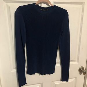 Zara Knit Navy Blue Ribbed Sweater